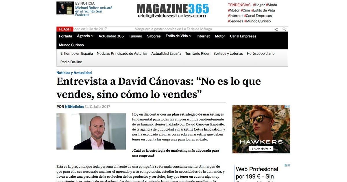 Entrevista a David Cánovas Expósito en El Digital de Asturias